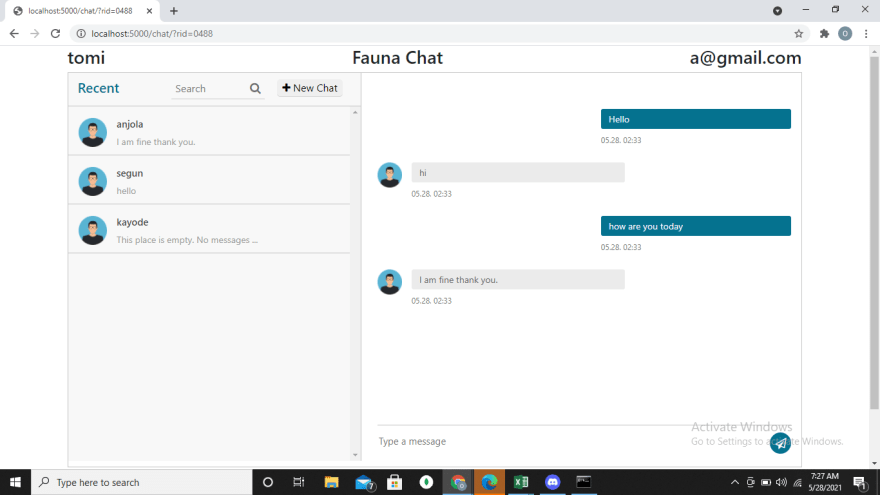 fauna-chat chat room page