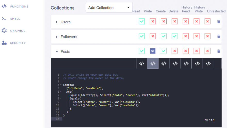 Dashboard: Default predicate function for write privilege