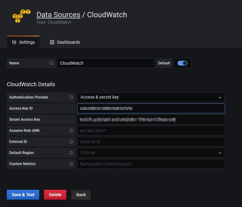 Grafana Cloud configuration cloudwatch datasource