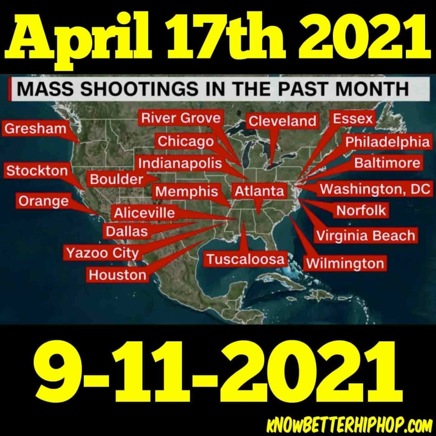 Radio show episode image of a US map from CNN showing where some of the mass shootings have happened in the past month with the words April 17th 2021 9-11-2021