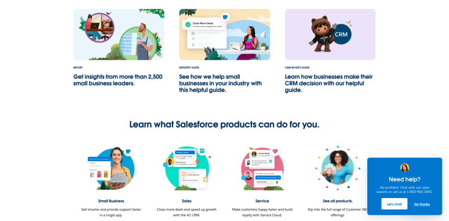Salesforce website section