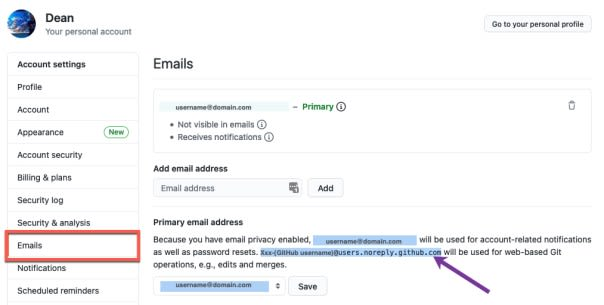 GitHub emails - primary email address - no reply email address