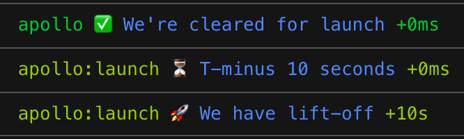 The rendered log messages from the preceding code