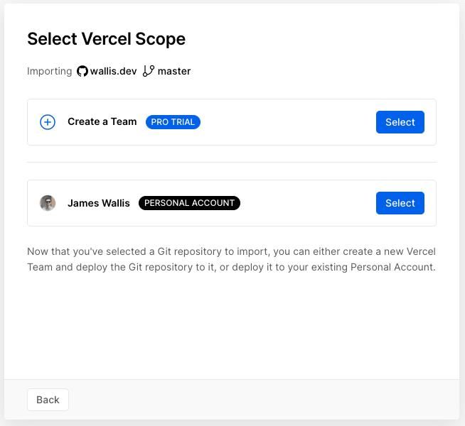Select Vercel Scope screen