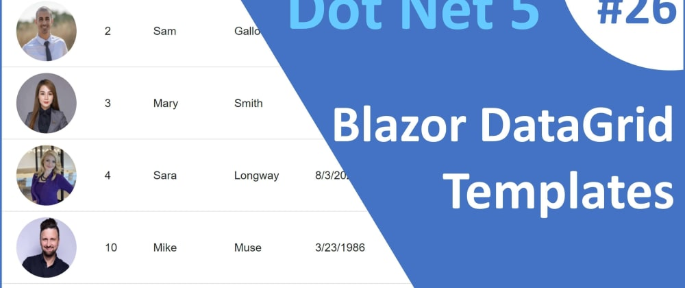 Cover image for ASP.NET Core Blazor   DataGrid Detail Template
