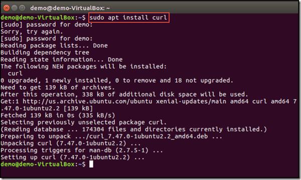 installing curl using terminal in ubuntu