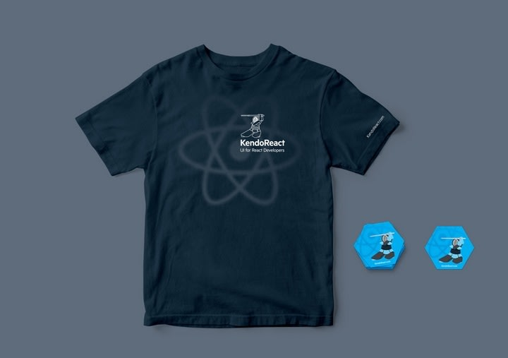 KendoReact conference giveaways - t-shirts, stickers