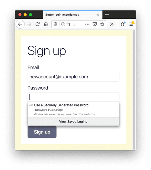 A sign in form in Firefox. The password field has suggested a strong password.