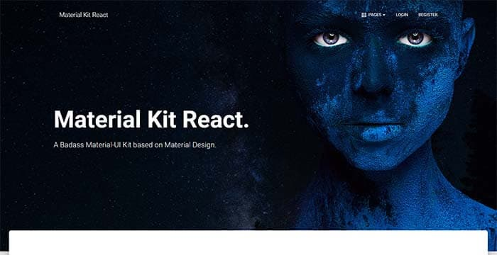 Material Kit React - Full-Stack App, Main Screen.