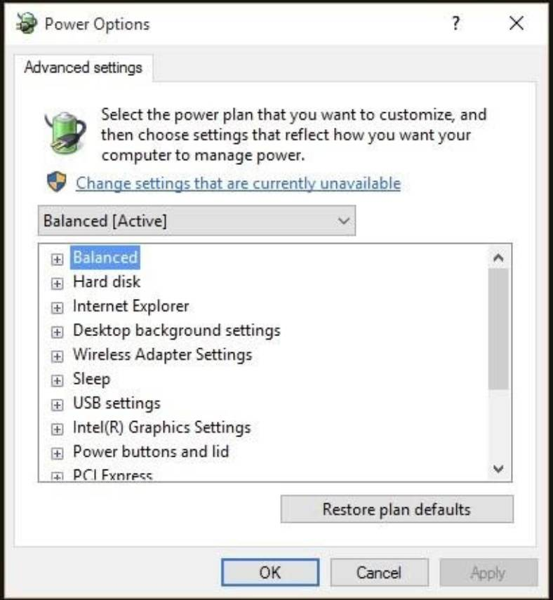 display all settings related to power management