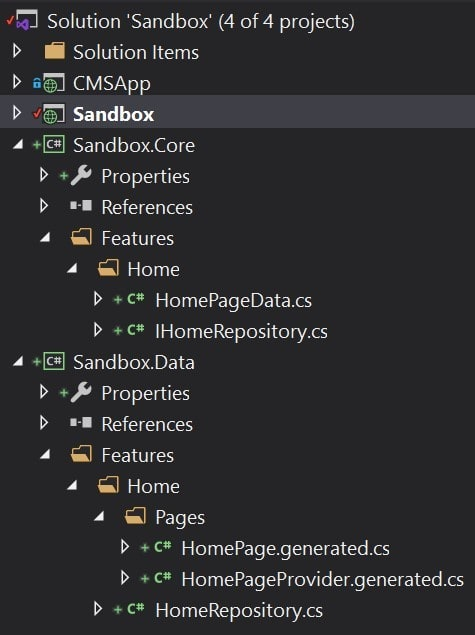 Onion architecture in the Visual Studio solution