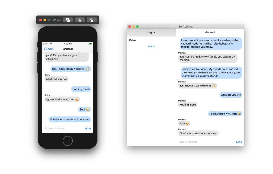 Screenshot shows a chat between two users running on an iPhone simulator and macOS
