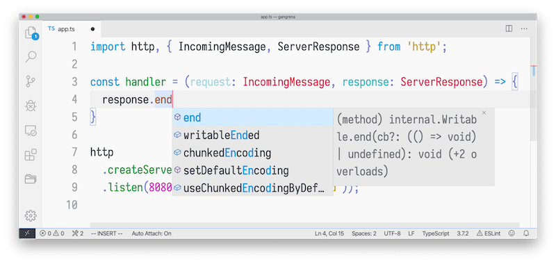 TypeScript for VS Code IntelliSense feature<br>