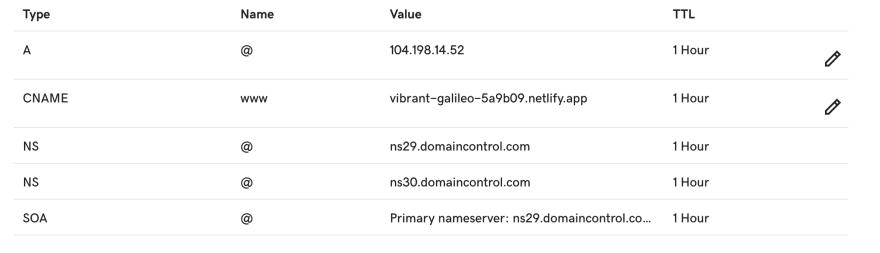 Correct DNS settings