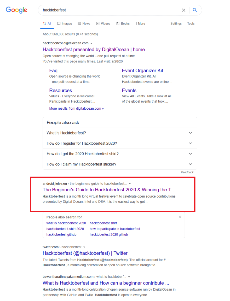 The search results for hacktoberfest