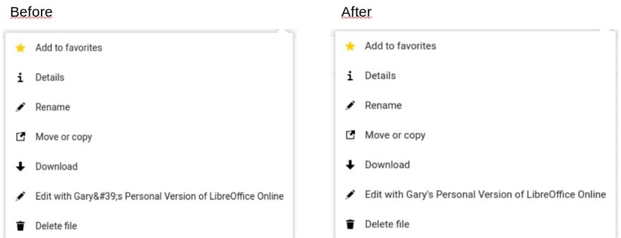 Screenshot of the Edit with menu item of Collabora Online's Nextcloud integration