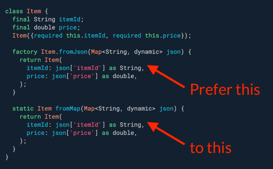 Prefer factory constructors to static methods for deserialization.