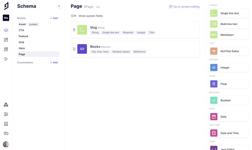 GraphCMS Page Model