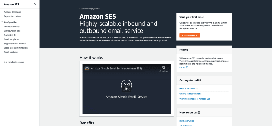 AWS SES Getting Started Page