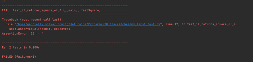 Simulating error: test did not pass
