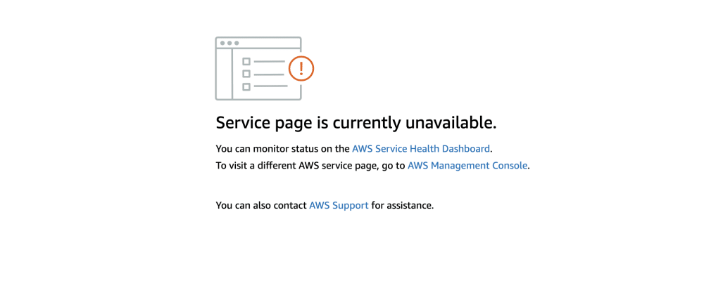 """Cover image for What to do when """"Service page is currently unavailable."""" on AWS Console"""