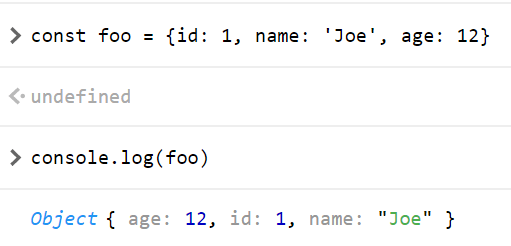 Result of console.log(foo)