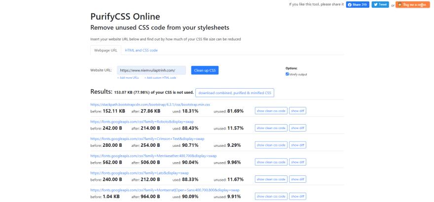 PurifyCSS Online