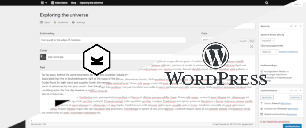 Cover image for WordPress vs. Kirby CMS - 2021 Feature Comparison