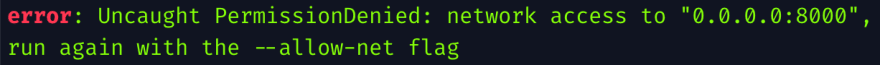 Deno network permission error