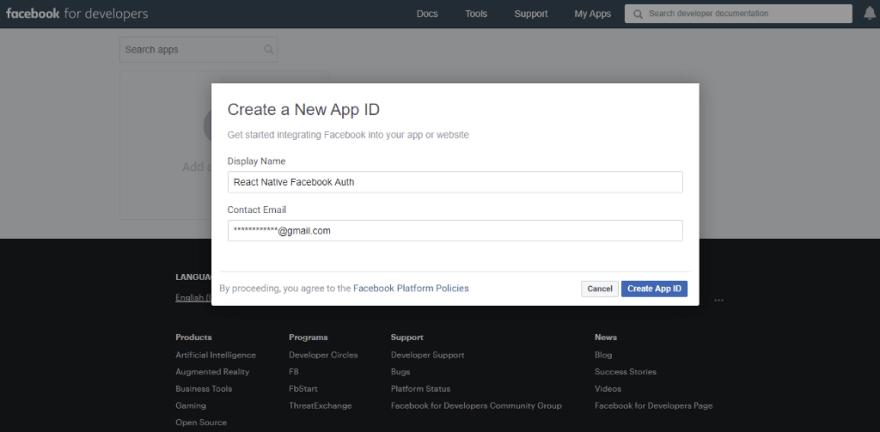 Facebook developers—Create new app