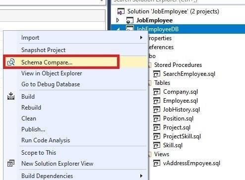 Navigating to the database schema comparison window