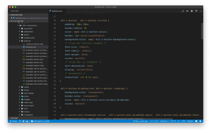 Screenshot of Visual Studio Code showing the big folder and file structure of a pattern library