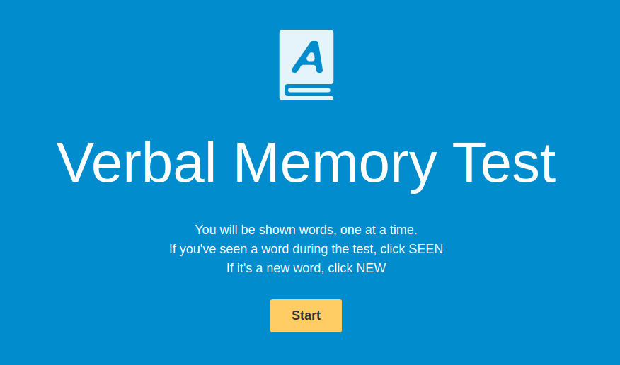 HumanBenchMark verbal memory test home screen