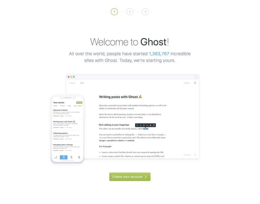 Ghost's sign-up page.