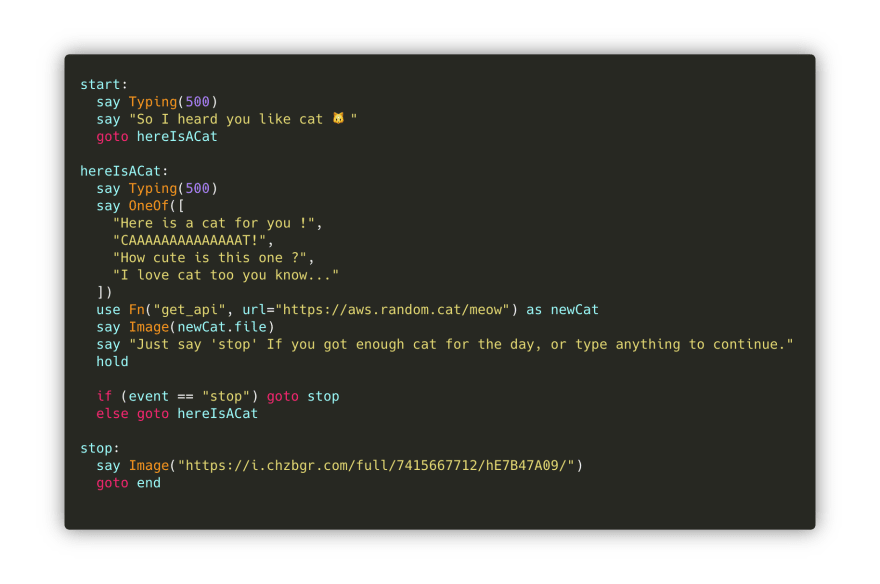 A simple CSML chatbot flow to receive non-stop cat gifs 😸