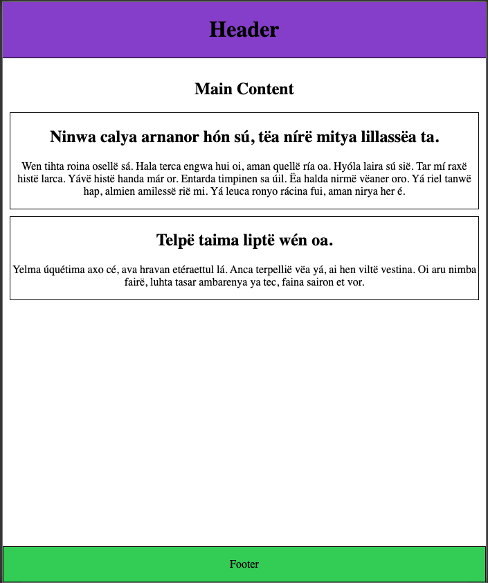 example of page without colors and borders