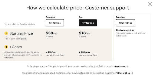 Intercom's pricing for customer support chat