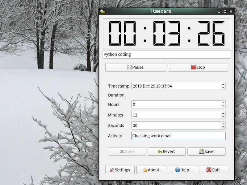 Screenshot: Editing a log entry