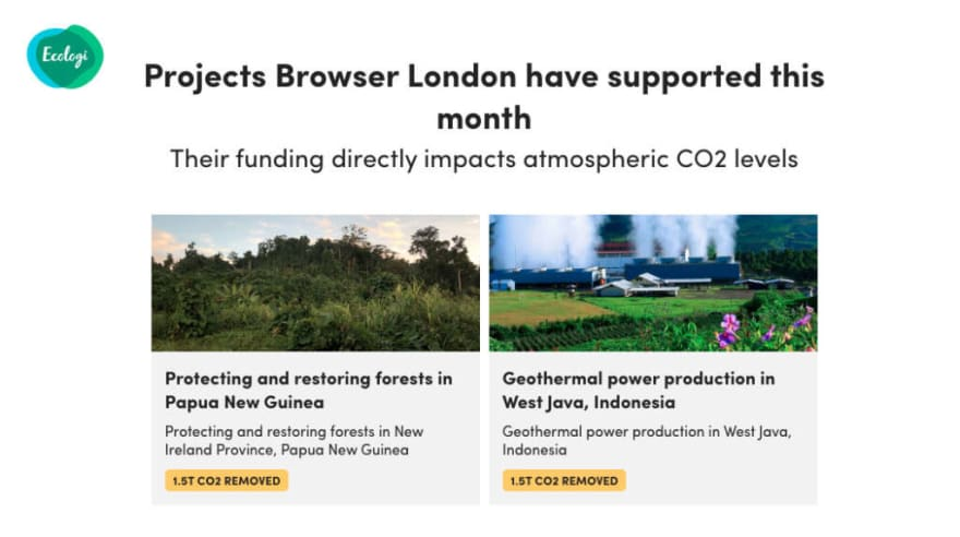 Projects Browser has supported through Ecologi