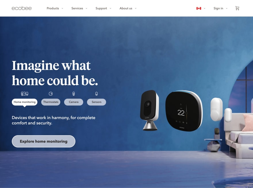 An identical-looking screenshot of the top section of the staging version of ecobee.com, showing an image of a Smart Camera, Smart Thermostat, and two Smart Sensors next to the words, 'Imagine what could be'.