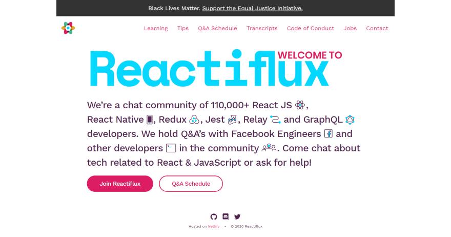 Reactiflux homepage screenshot