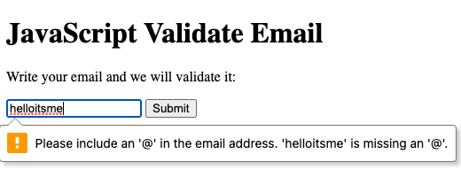 Email validation using a form with an HTML5 email input