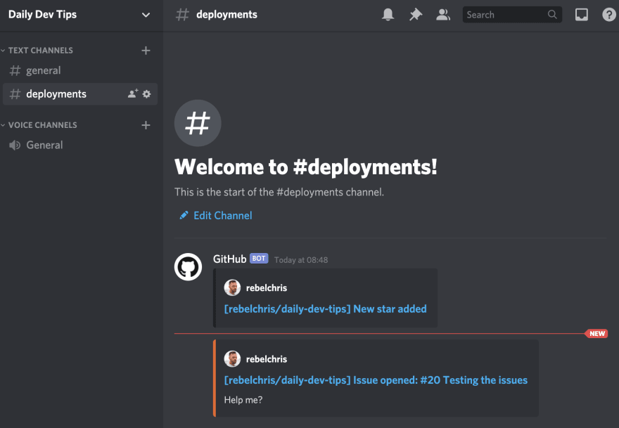 Receiving GitHub actions in Discord bot