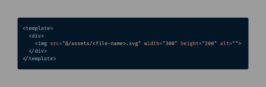 Embedding an external svg as an image element in a Vuejs template