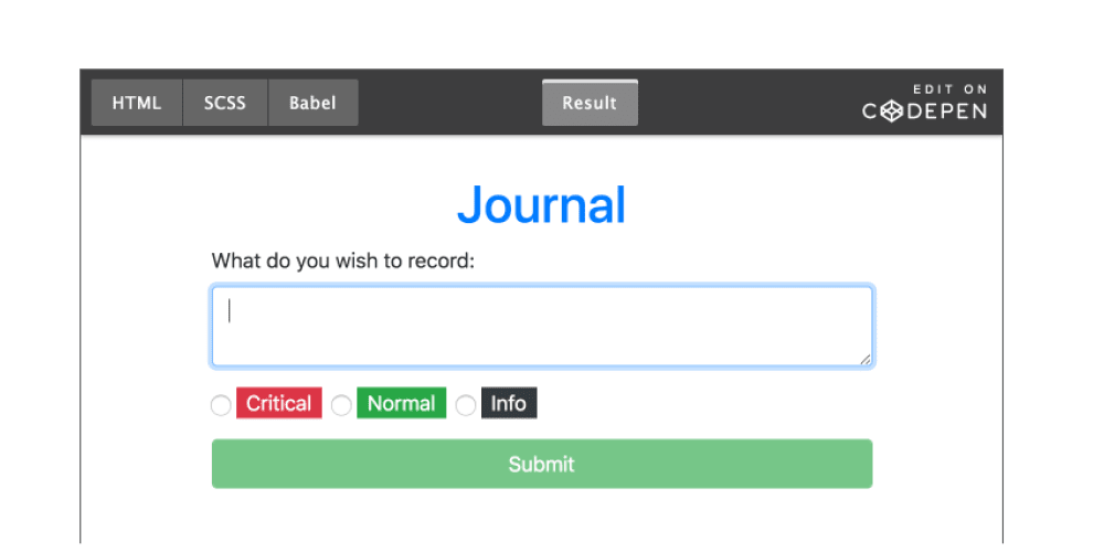 A simple Journal app (using React, localStorage and fun