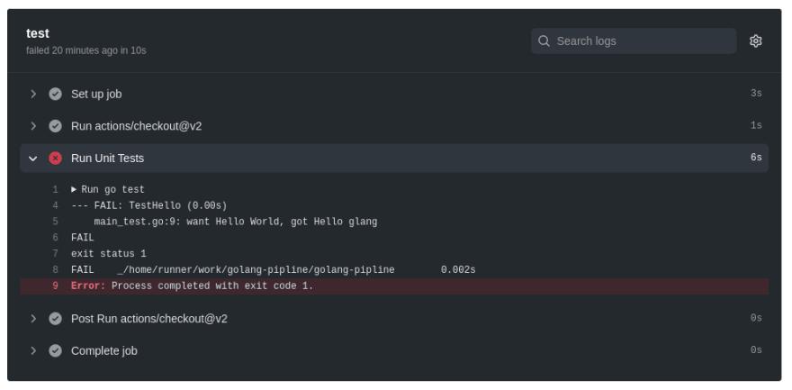 Github Action test fail