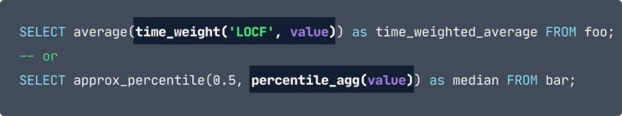 The same as the previous in terms of code, except the sections: time_weight('LOCF', value) and percentile_agg(value) are highlighted