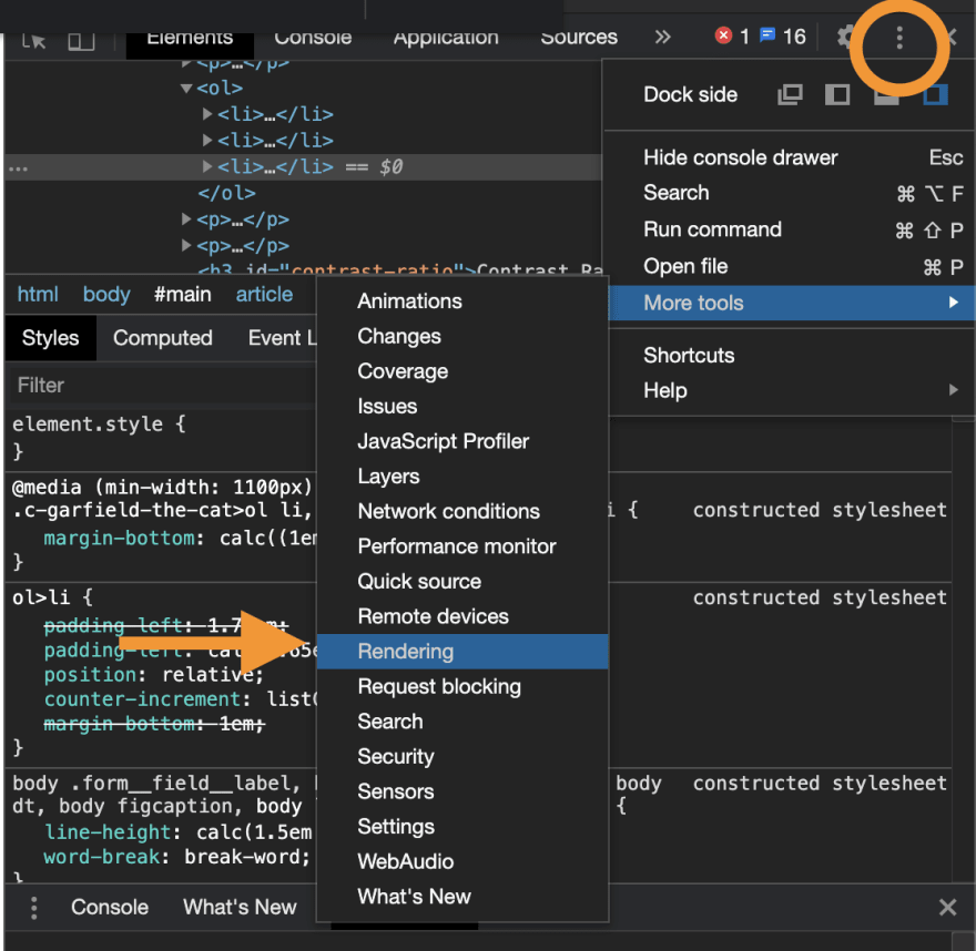 Chrome dev tools, rendering tab