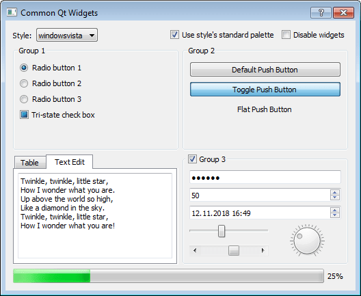 Screenshot of the most common Qt widgets