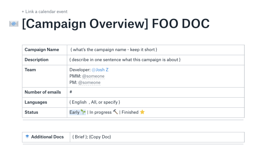 Campaign Overview Doc sample